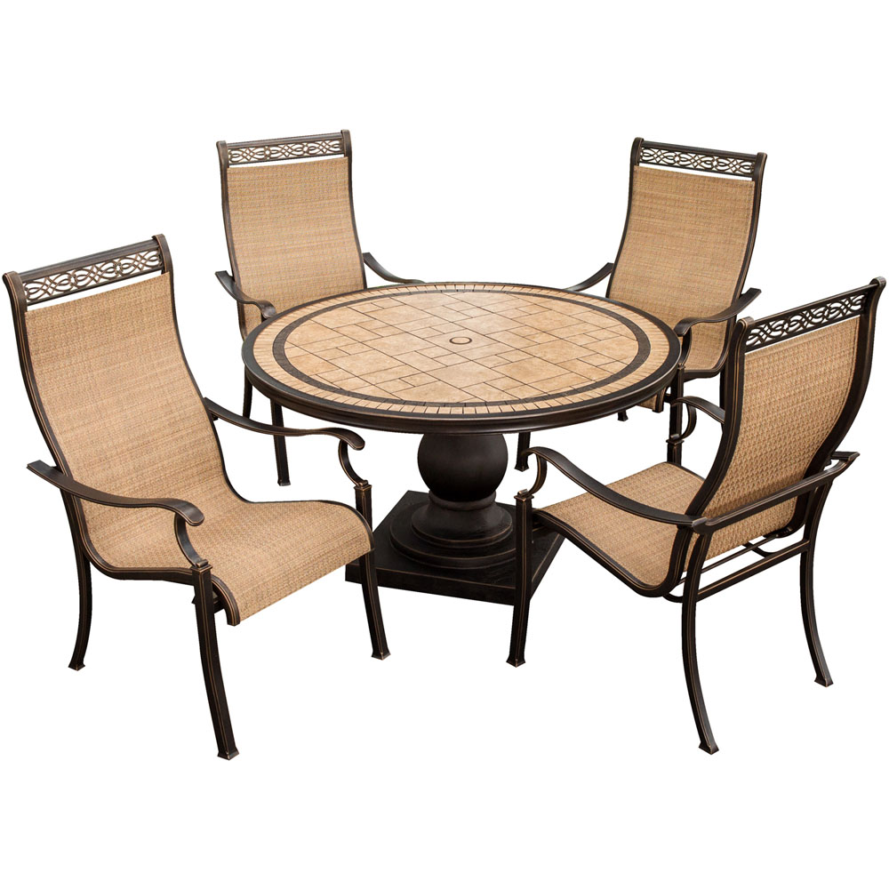 "Monaco5pc: 4 Sling Dining Chairs, 51"" Round Tile Top Table"