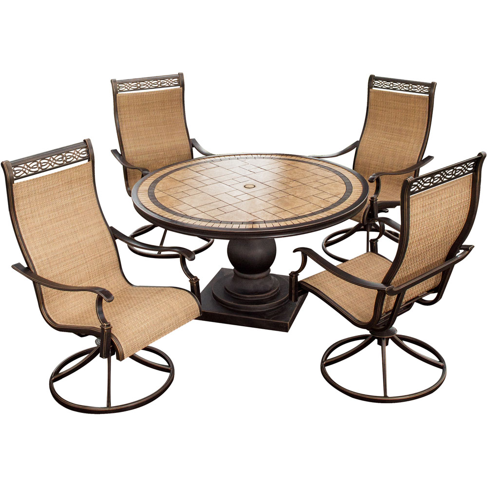 "Monaco5pc: 4 Sling Swivel Rockers, 51"" Round Tile Top Table"