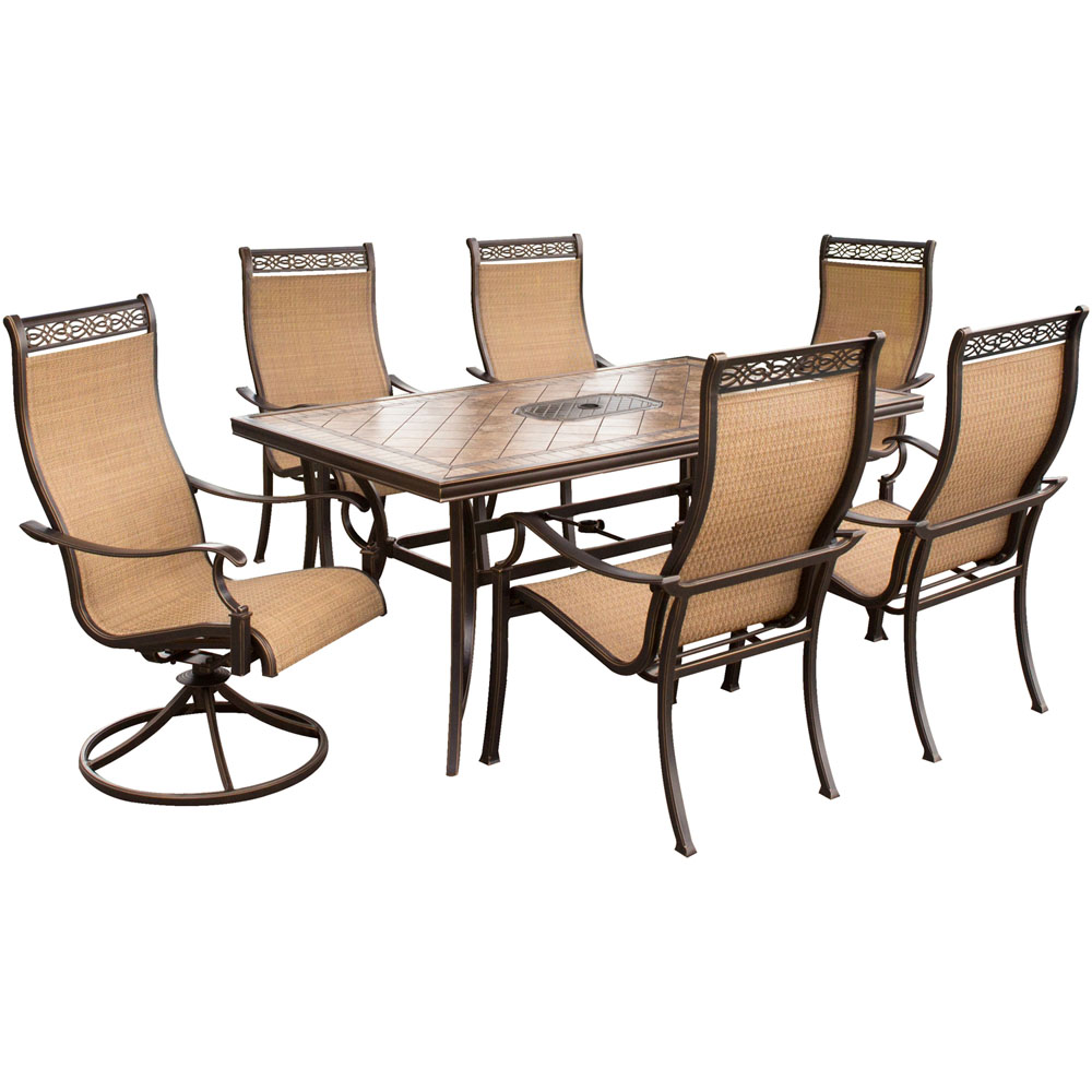 Monaco 7pc Dining Set (4 cast dining, 2 swivel rockers, Porcelain Table)