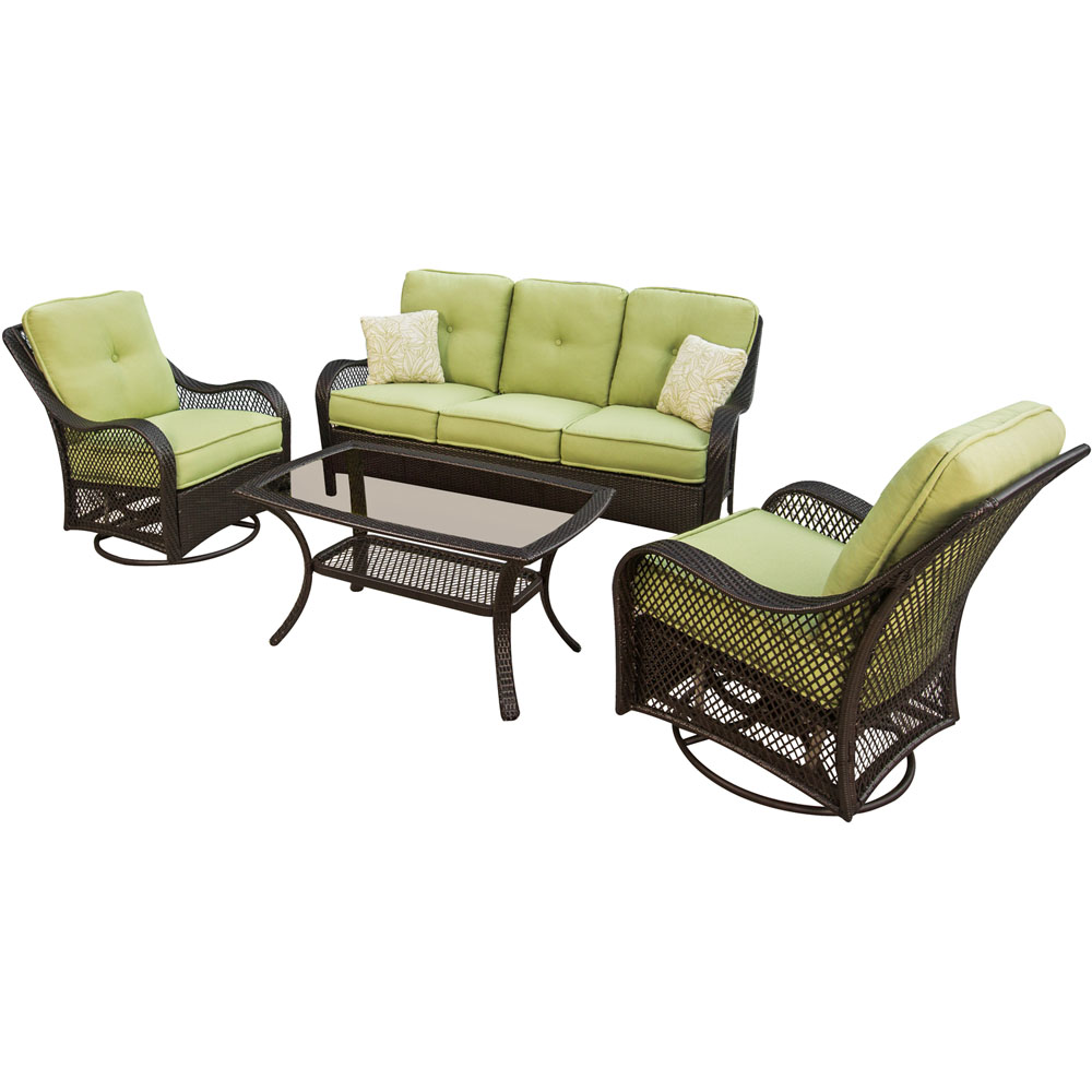 Orleans 4pc Seating Set (2 swivel gliders, 1 loveseat, 1 coffee table)