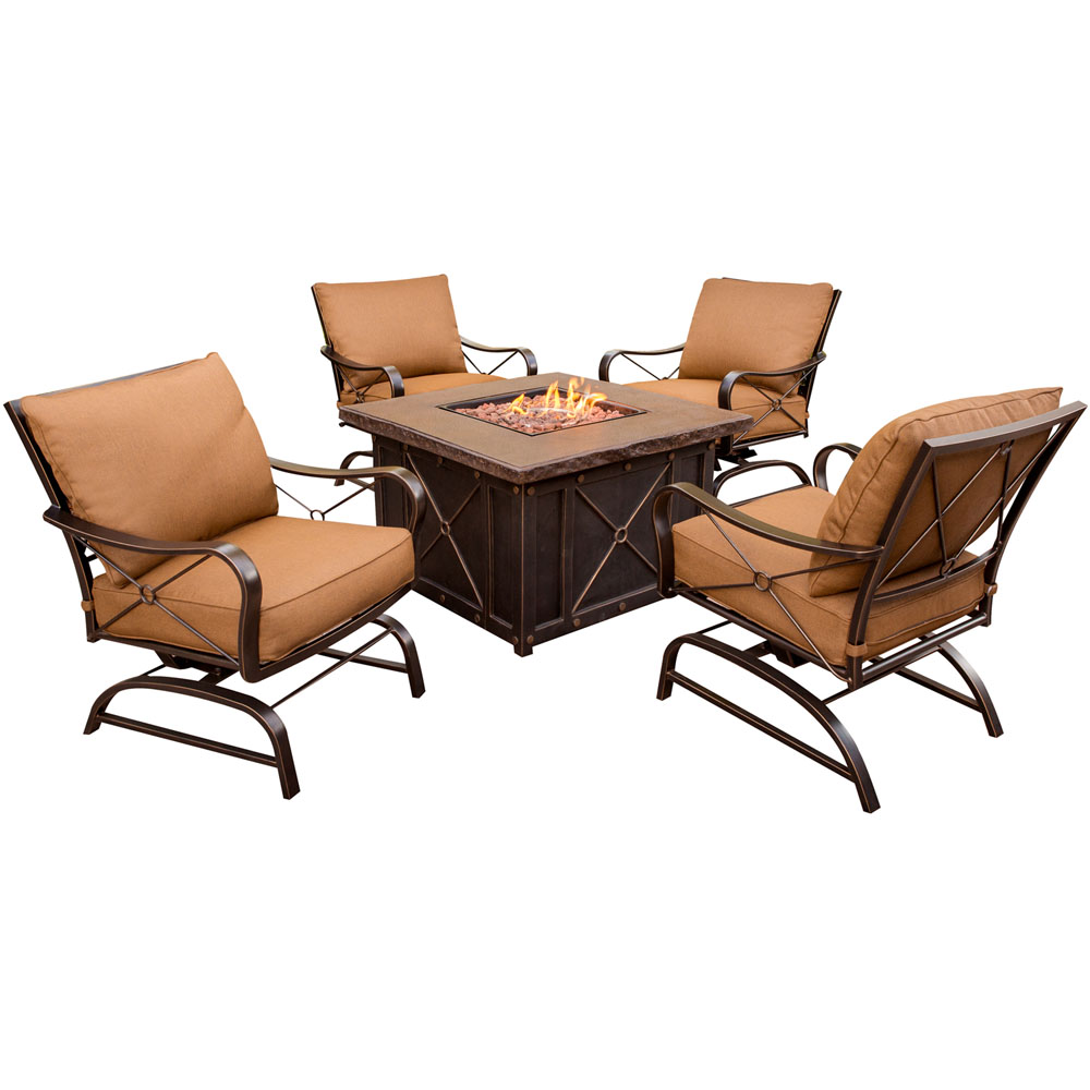 "Summer Nights 5pc Fire Pit (4 cushion rockers, 40"" square fire pit)"