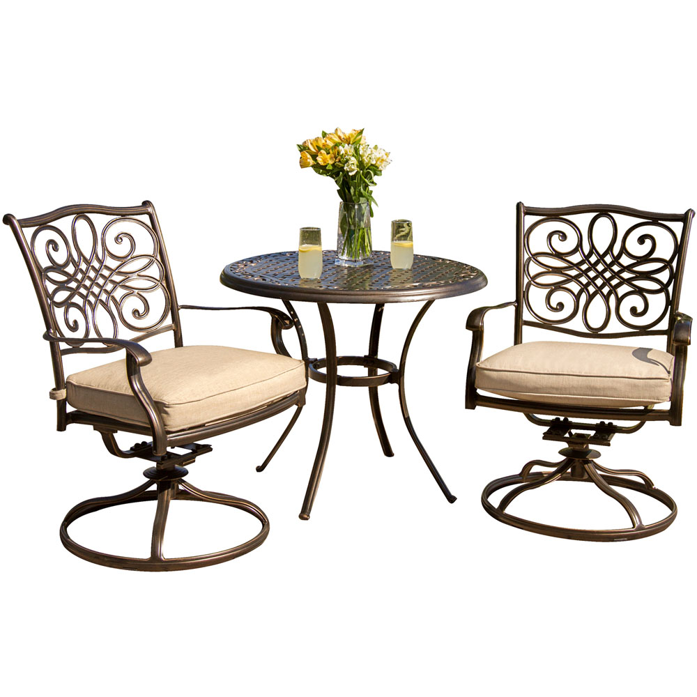 "Traditions3pc: 2 Swivel Rockers, 32"" Round Cast Table"
