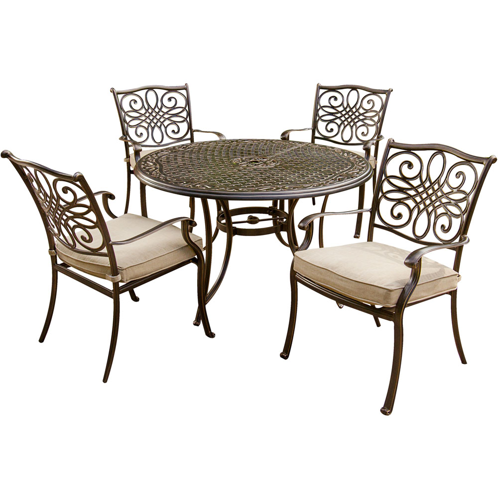 "Traditions 5 Piece Dining Set (4 Aluminum Cast Dining Chairs, 48"" Round Table)"