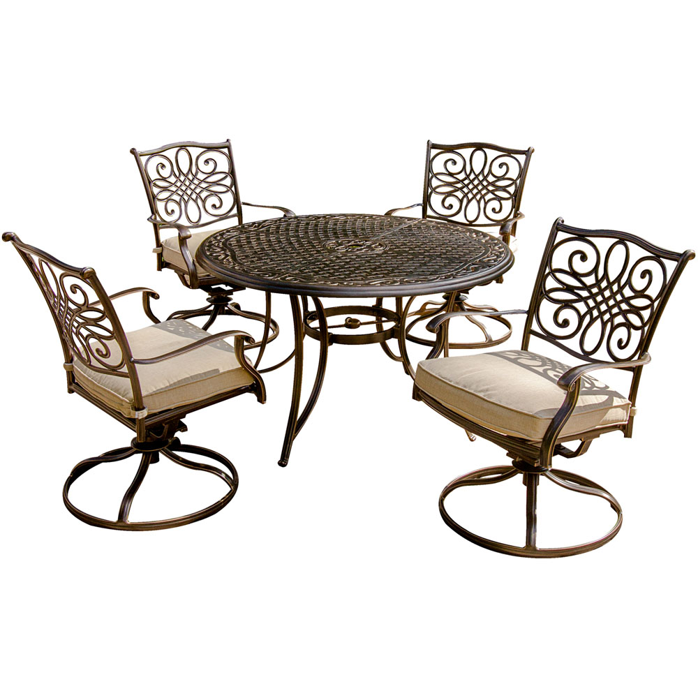 "Traditions 5 Piece Dining Set (4 Swivel Rockers, 1 48"" Round Table)"
