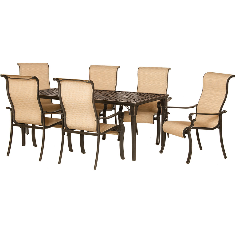 Brigantine 7-pc Dining Set (Alum. Table + 6 Sling Chairs)