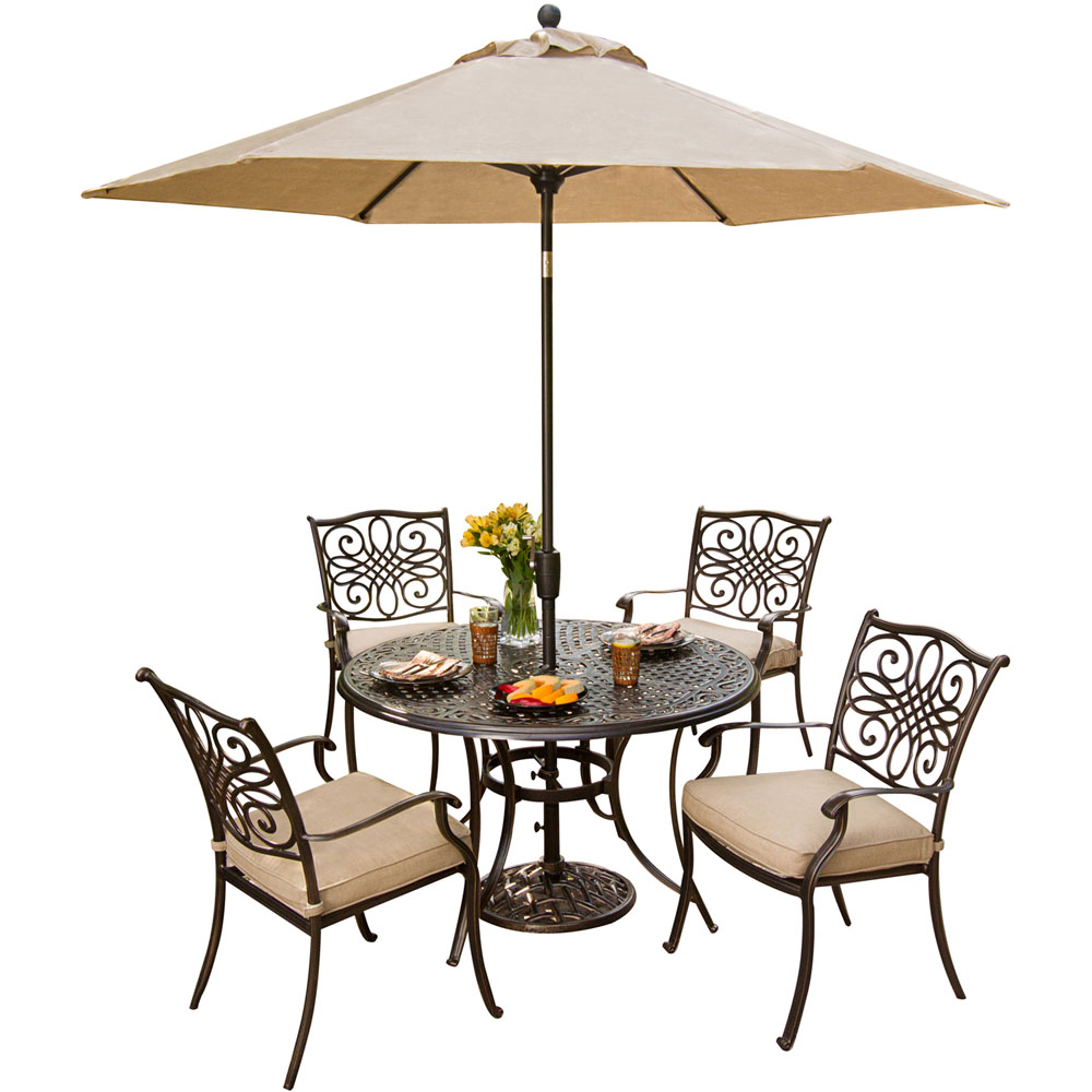 5 Piece Dining Set,Umbrella & Stand