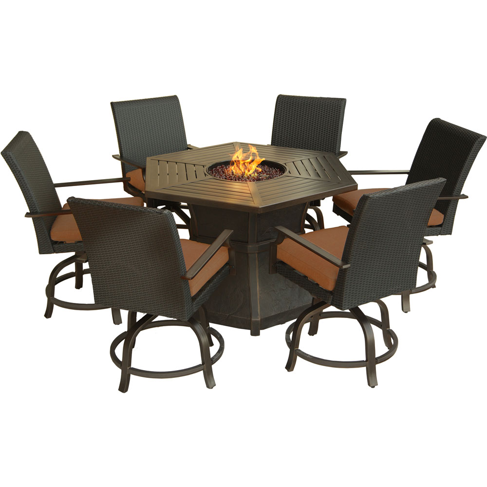 Aspen Creek 7pc Fire Pit Set: 6 Swivel Stools, 1 High Dining Fire Pit