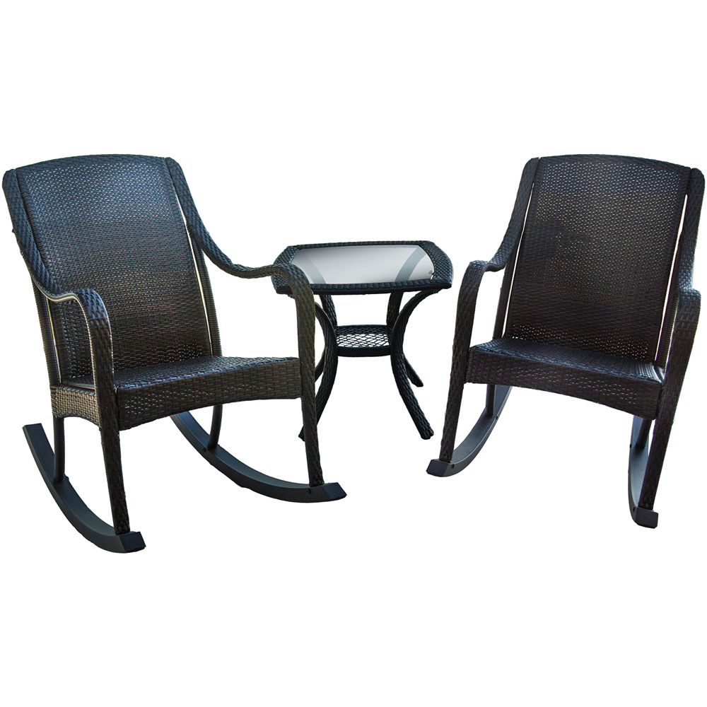 Orleans 3pc Porch Rocker Set: two porch rockers, one end table