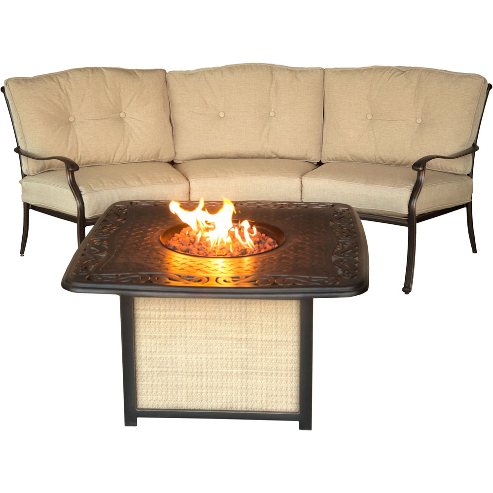 Traditions2pc Fire Pit: Cast Top Fire Pit, Crescent Sofa