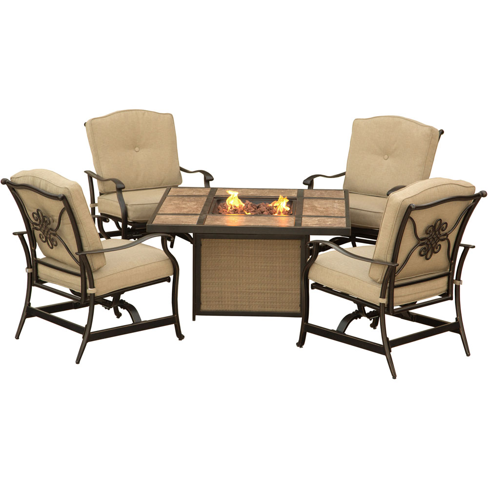 Traditions5pc Fire Pit: Tile Top Fire Pit, 4 Cushioned Rockers