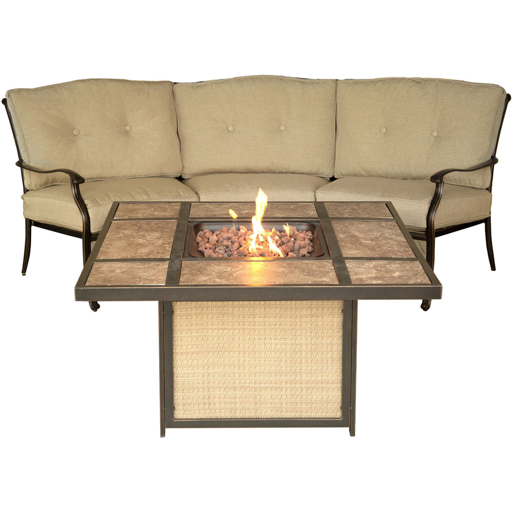 Traditions2pc Fire Pit: Tile Top Fire Pit, Crescent Sofa