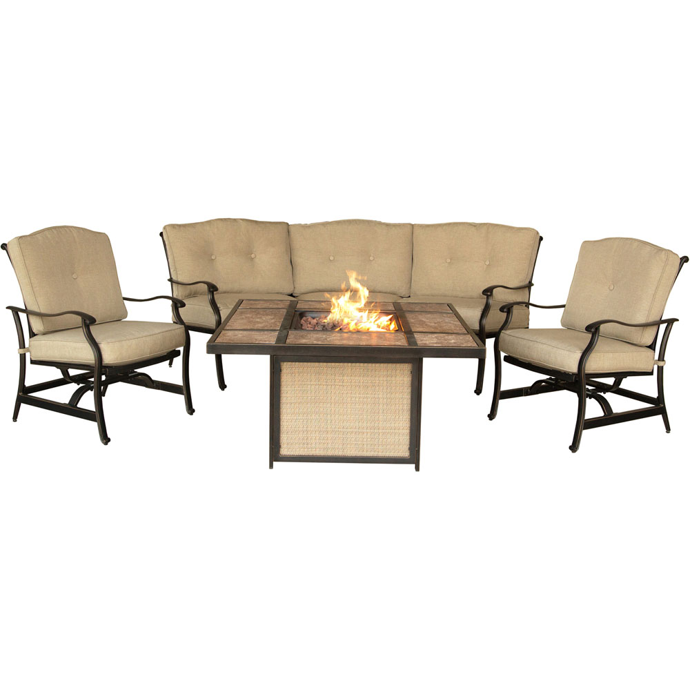 Traditions4pc Fire Pit: Tile Top Fire Pit, Crescent Sofa, 2 Cush Rockers
