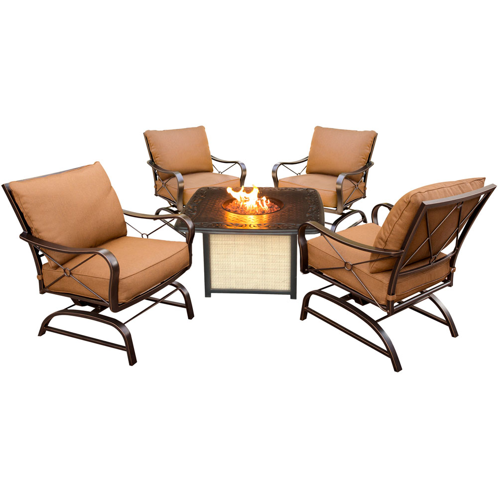 Summer Nights 5pc Fire Pit: 4 Cushion Rockers, Cast Top Fire Pit w/lid