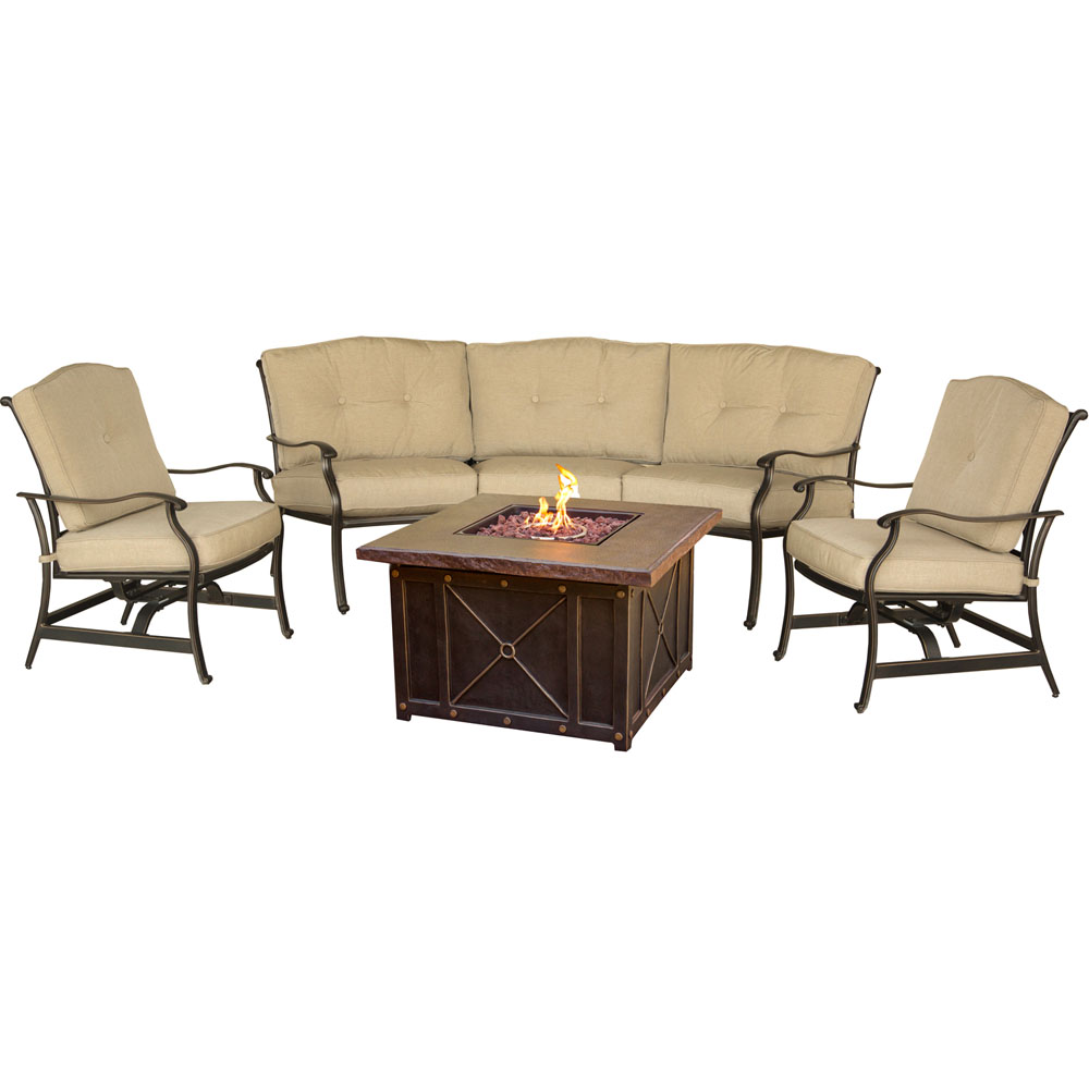 Traditions4pc Fire Pit: Durastone Fire Pit, 2 Cush Rockers, Crescent Sofa