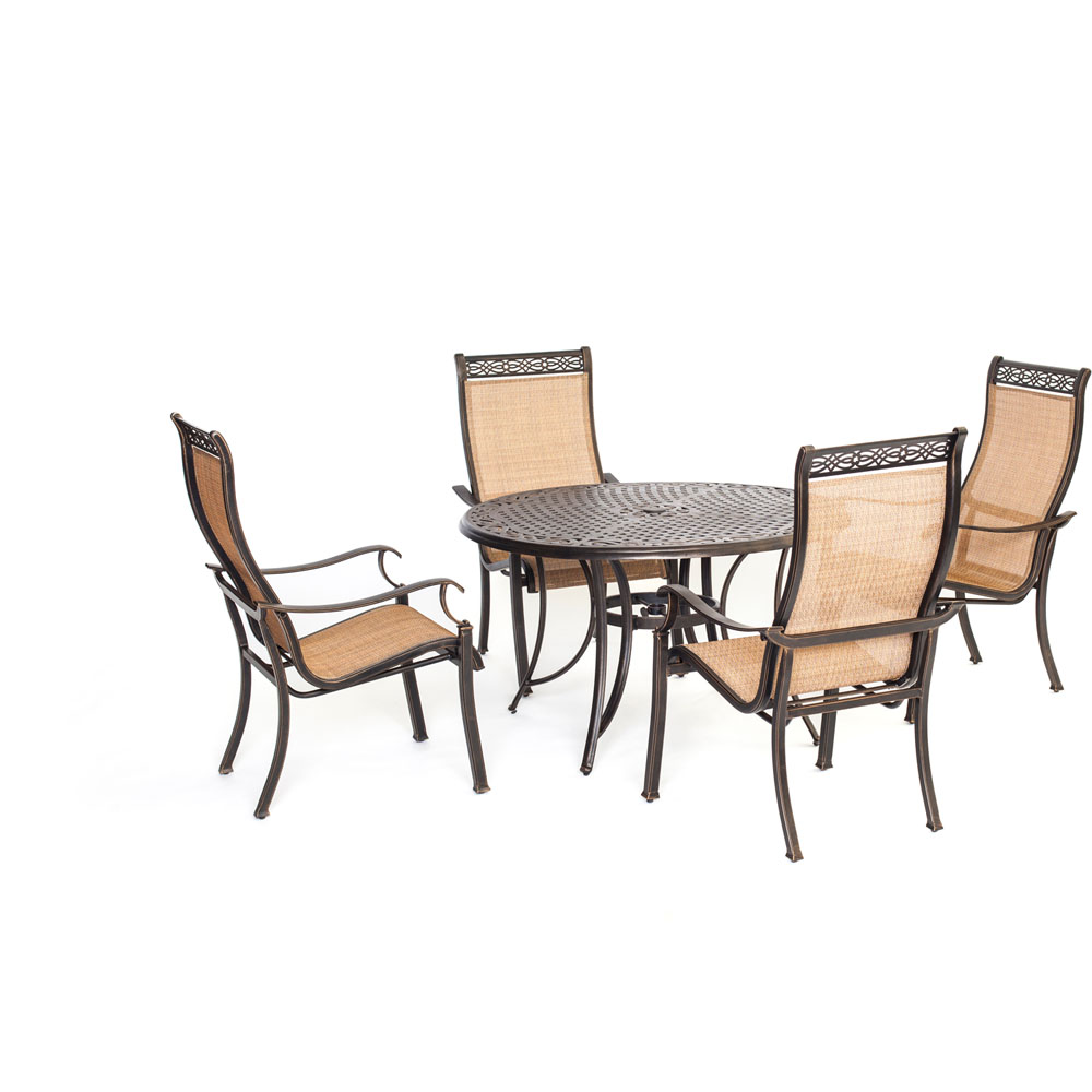 "Manor5pc: 4 Sling Dining Chairs, 48"" Round Cast Table"
