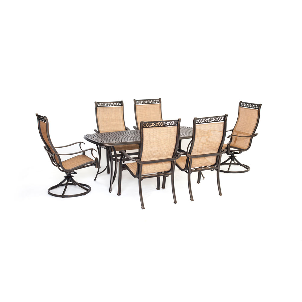 Manor7pc: 4 Sling Dining Chairs, 2 Sling Swivel Rockers, 38x72 Cast Tbl