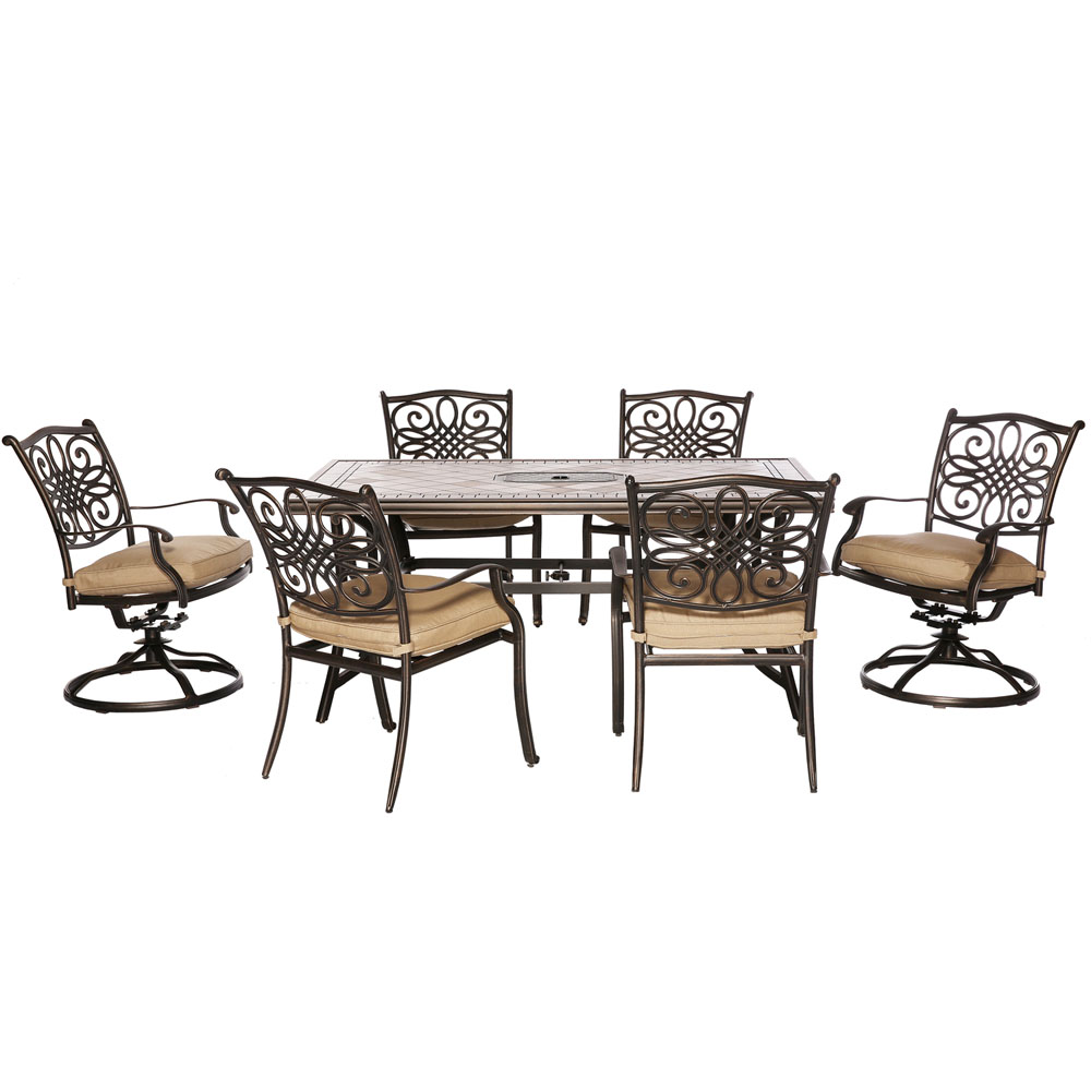 "Monaco7pc Dining Set: 40x68"" Porcelain Top Tbl, 4 Dining Chrs, 2 Swvl Chrs"