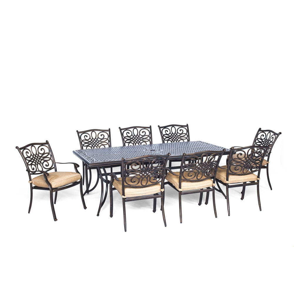 "Traditions9pc: 8 Dining Chairs, 42x84"" Cast Table"