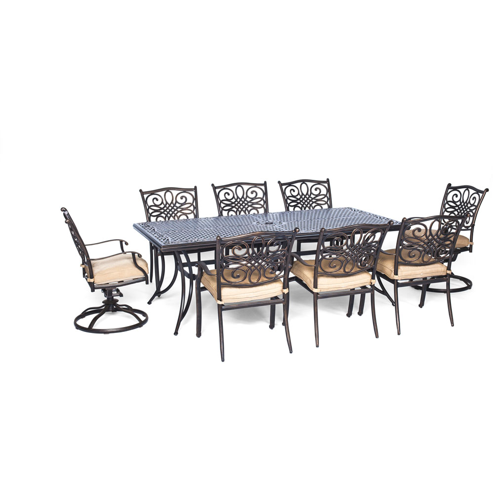 "Traditions9pc: 6 Dining Chairs, 2 Swivel Rockers, 42x84"" Cast Table"