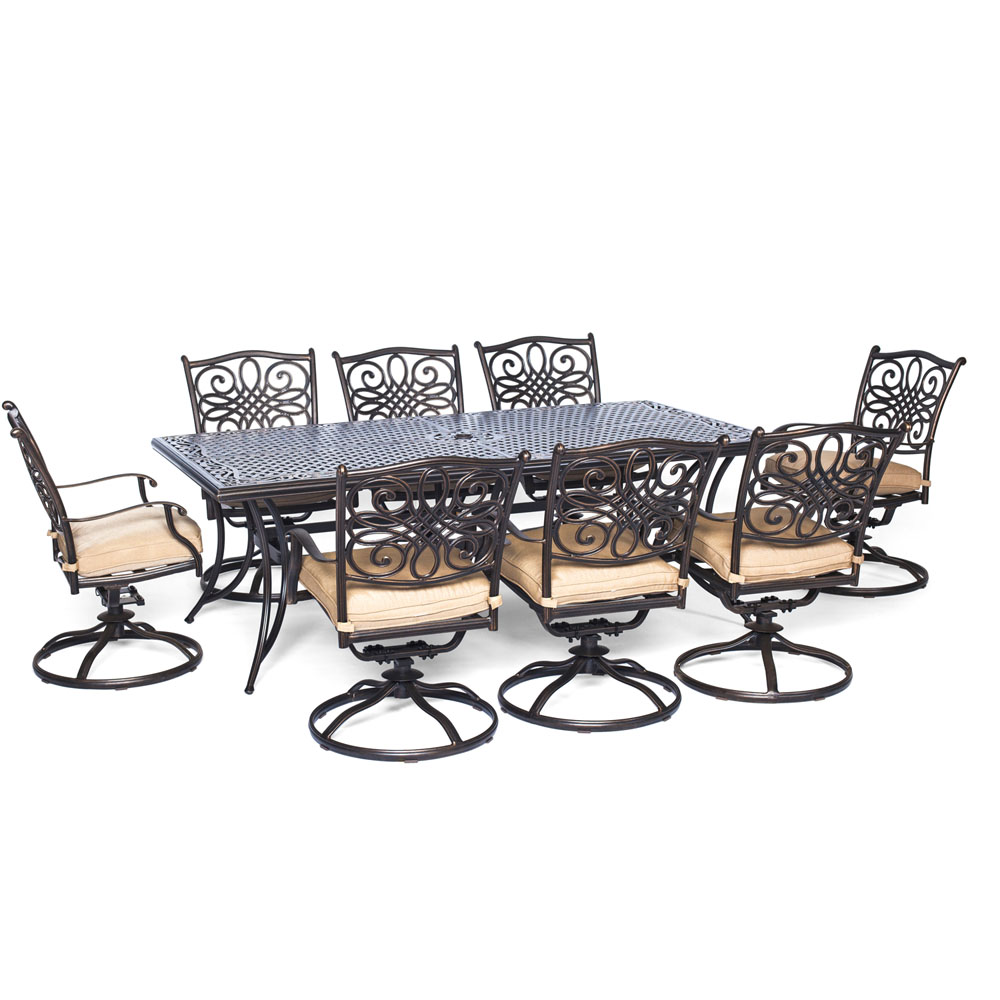 "Traditions9pc: 8 Swivel Rockers, 42x84"" Cast Table"