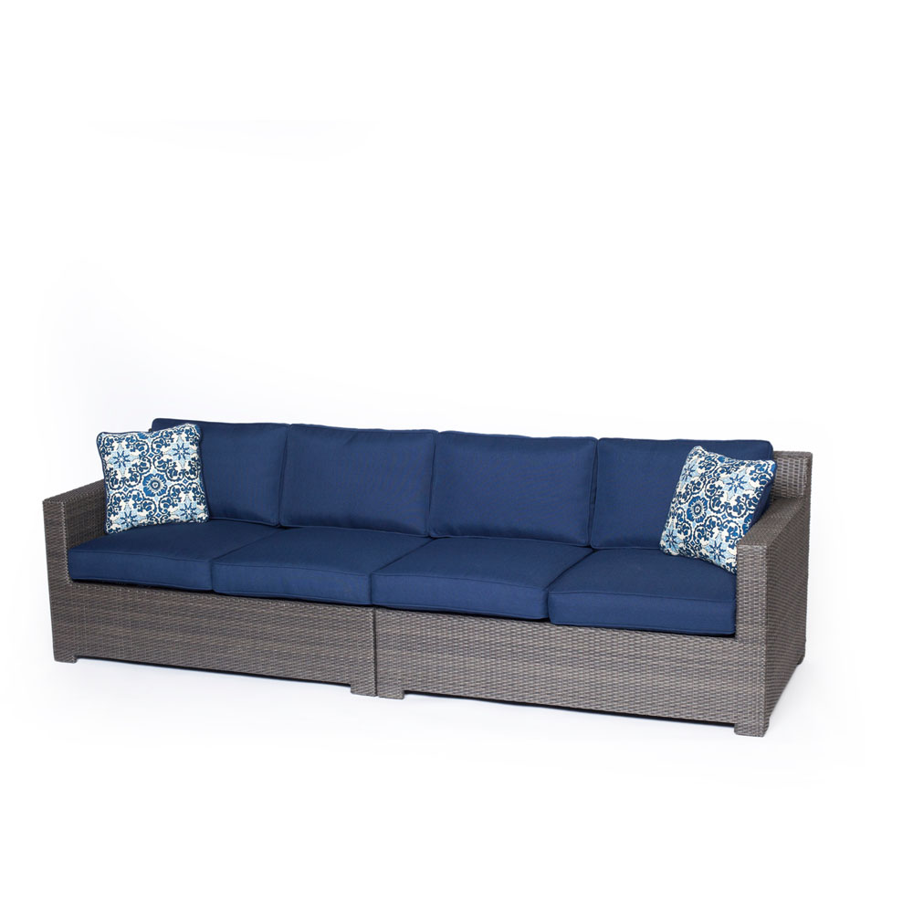 Metropolitan 2-Piece Outdoor Wicker Loveseat Set in Grey with Navy Blue Cushion