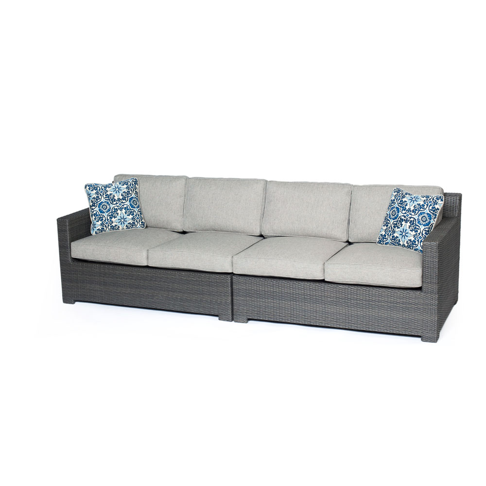 Metropolitan 2-Piece Outdoor Wicker Loveseat Set in Grey with Silver Lining Cushion