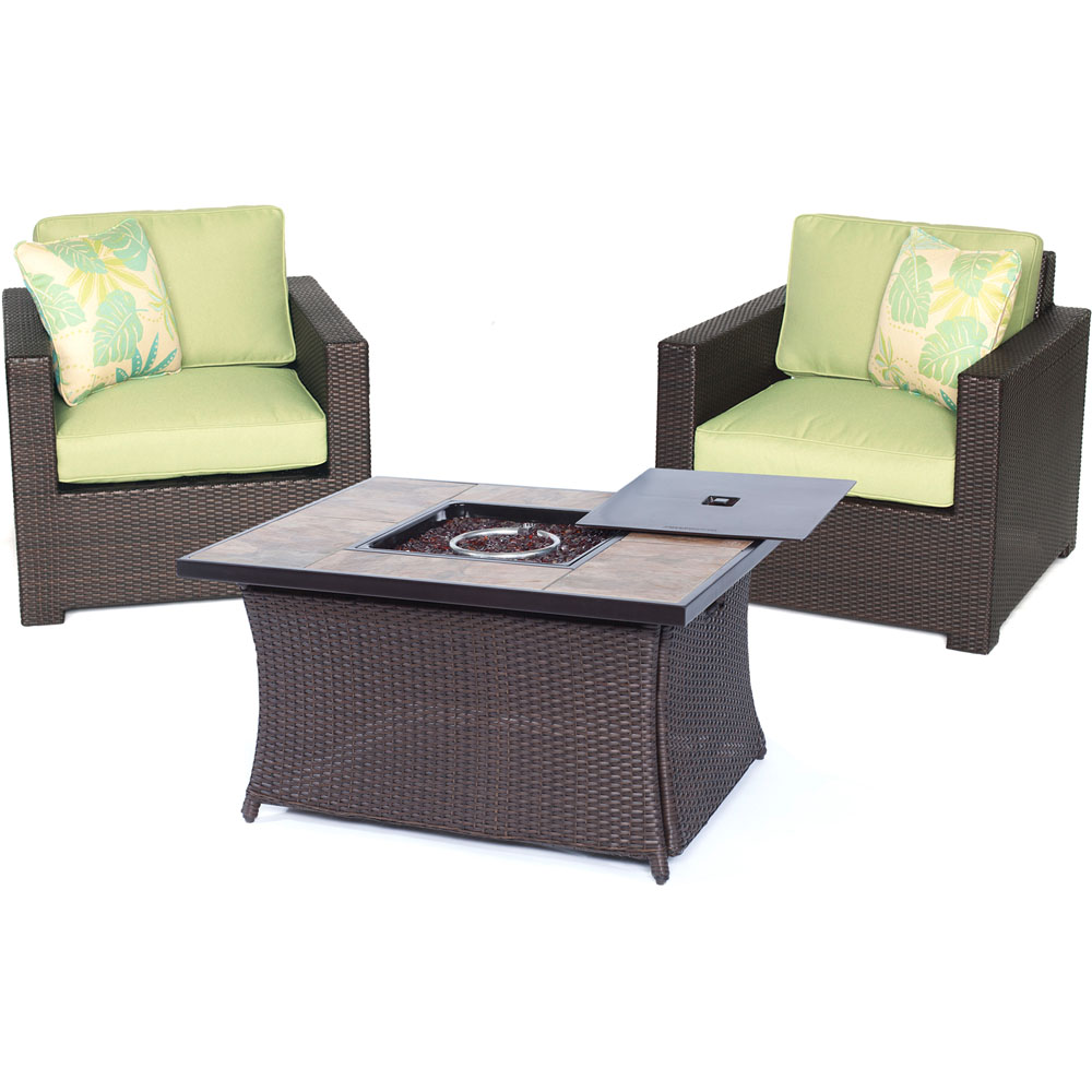 Metro3pc FP Set: 2 Deep Seating Side Chairs, Woven Fire Pit Coffee Table