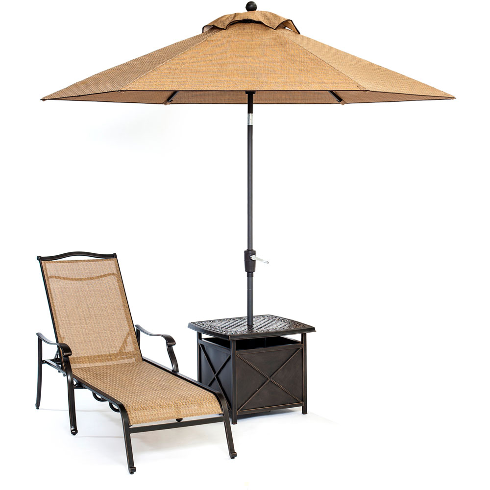 "Monaco 3pc Slng Chs Set: 1 Chaise, 1 Umb Side Tbl, 11"" Umbrella"