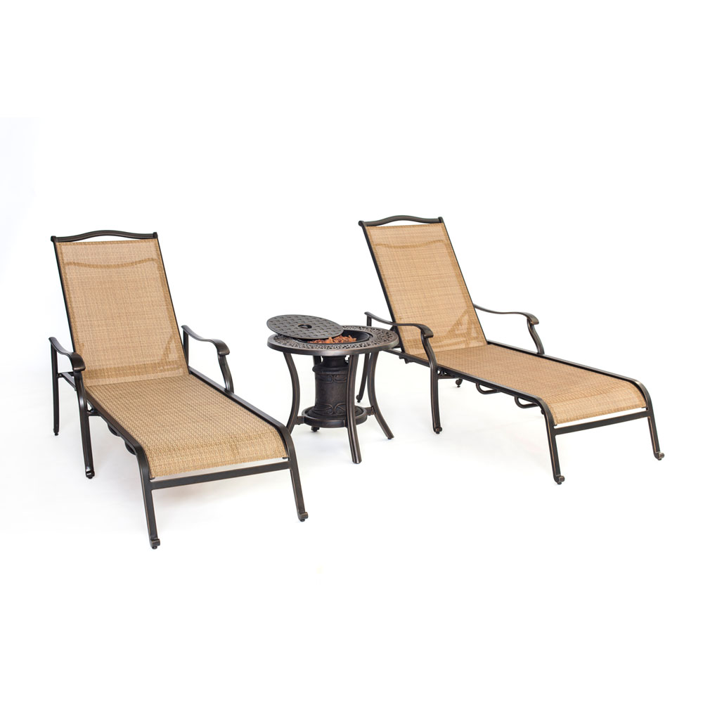 Monaco 3pc Sling Chaise Lounge Chair set: 2 Chaise Chairs, 1 Fire Urn