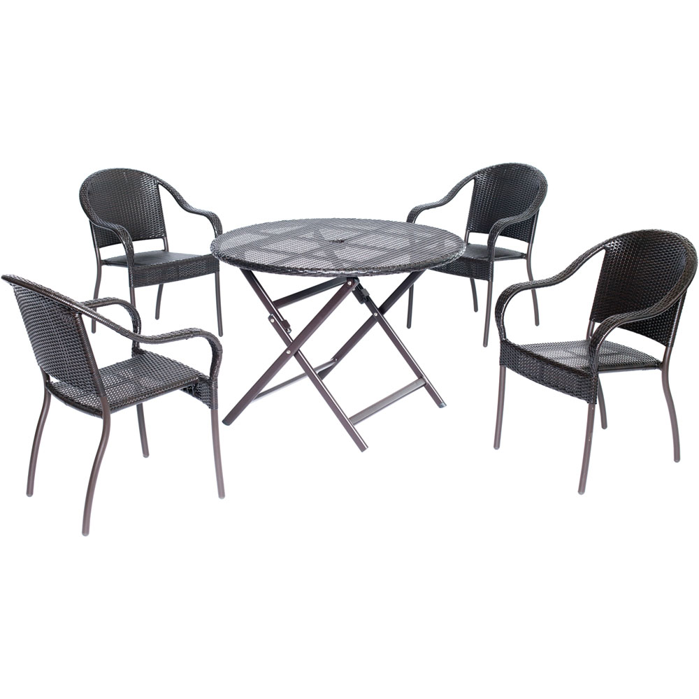 Orleans5pc Dining: 4 Aluminum Dining Chairs, 1 Round Woven Table