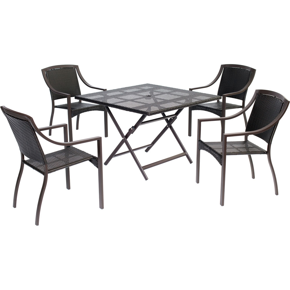 Orleans5pc Dining: 4 Aluminum Sq Dining Chairs, 1 Square Woven Table