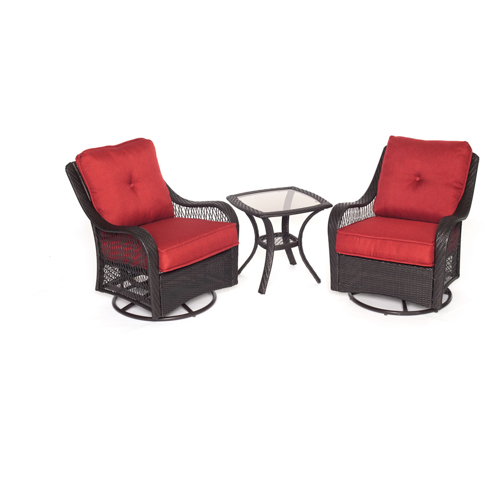 Orleans 3pc Seating Set: 2 Swivel Rockers, 1 Side Table