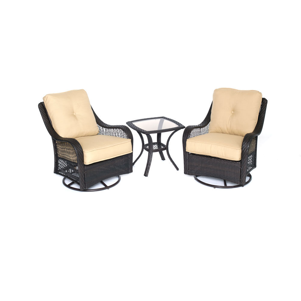 Orleans 3pc Seating Set: 2 Swivel Gliders, 1 Side Table