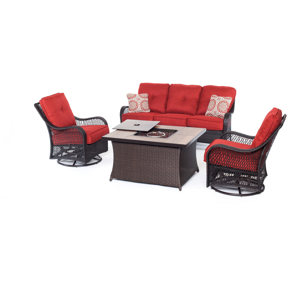 Orleans FP Seating Set:2 Swvl Gliders, Sofa, FP CofTbl w/WoodGrain Tile
