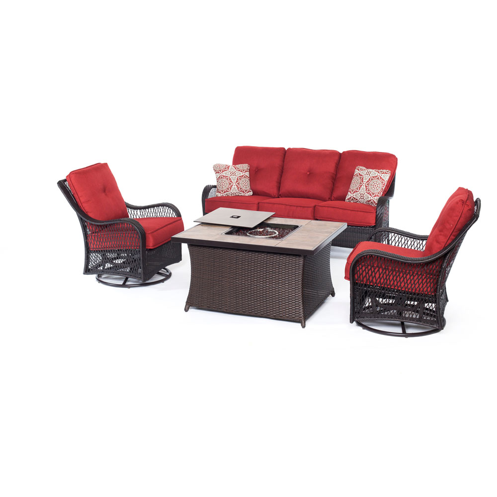 Orleans FP Seating Set:2 Swvl Gliders, Sofa, FP CofTbl w/Porcelain Tile