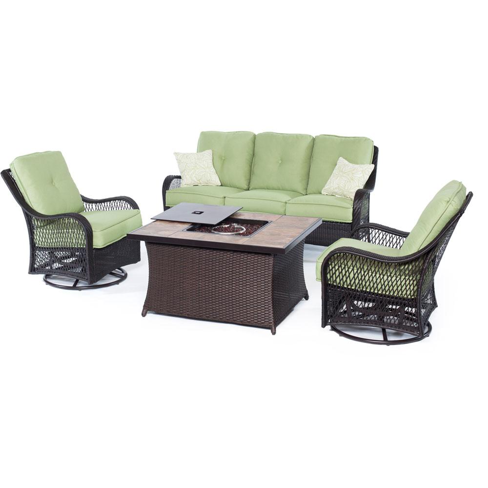 Orleans FP Seating Set:2 Swvl Gliders, Sofa, FP CofTbl w/Porcelain Tile