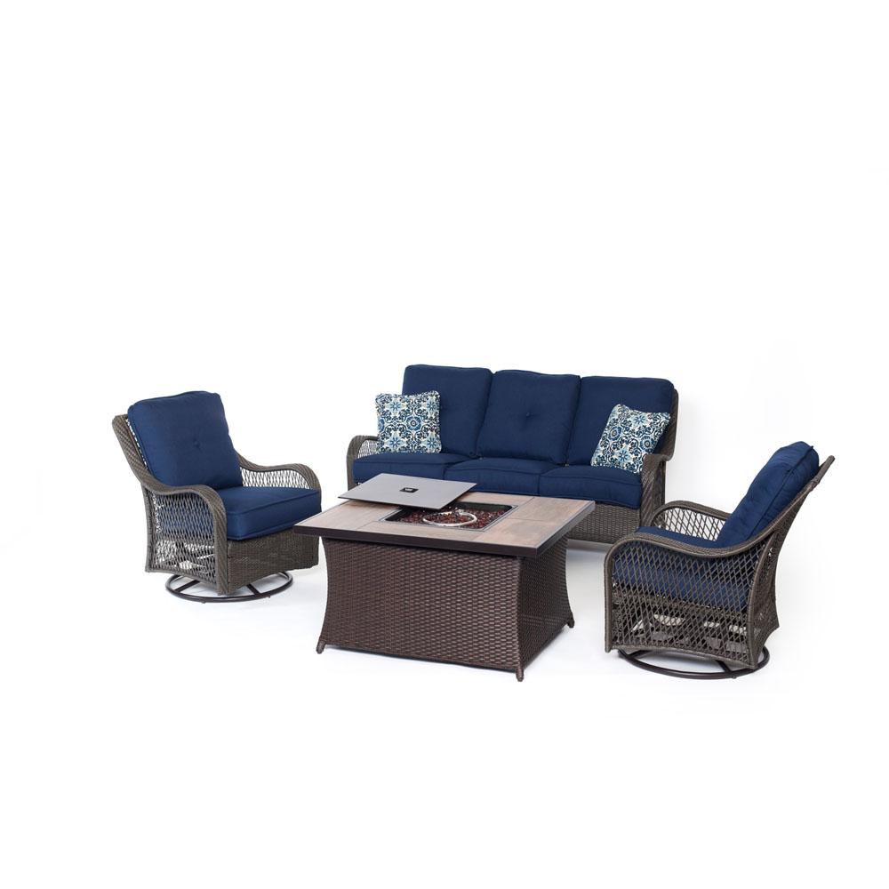 Orleans FP Seating Set:2 Swvl Gliders, Sofa, FP CofTbl w/WoodGrain Tile