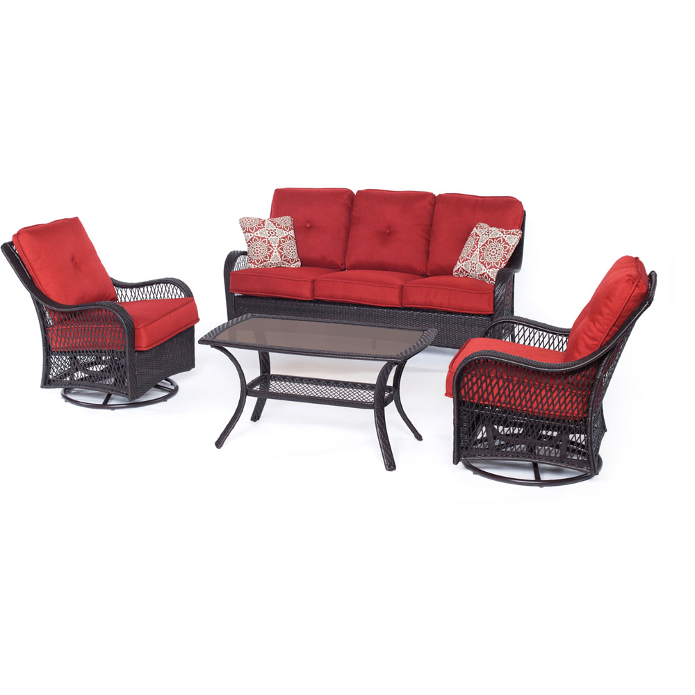 Orleans4pc Seating Set: 2 Swivel Rockers, Sofa, Coffee Table