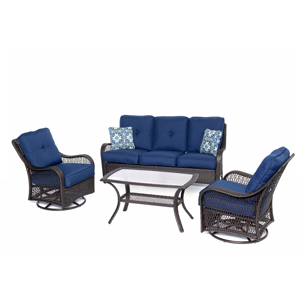 Orleans4pc Seating Set: 2 Swivel Gliders, Sofa, Coffee Table