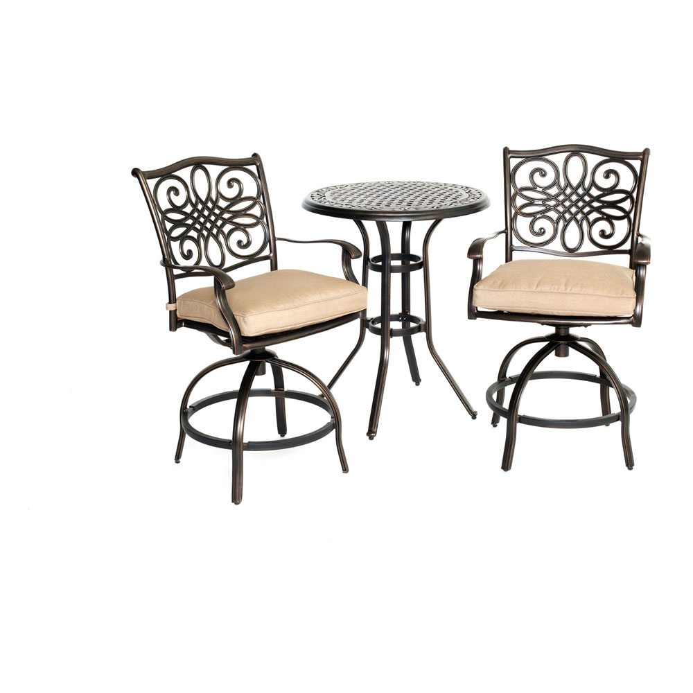 "Traditions3pc: 2 Counter Height Swivel Chairs, 30"" Round Cast Tbl (36""H)"