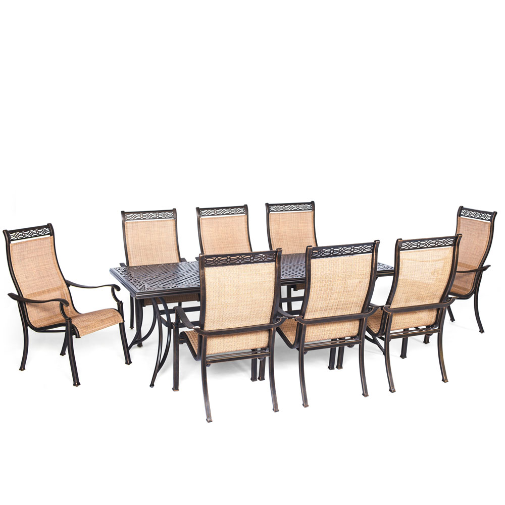 "Manor9pc: 8 Sling Dining Chairs, 42x84"" Cast Table"