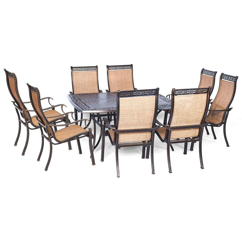 "Manor9pc: 8 Sling Dining Chairs, 60"" Square Cast Table"