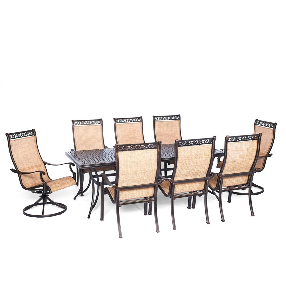 "Manor 9pc Dining Set: 42x84"" Cast Table, 6 Sling Din. Chr, 2 Swivel Chrs"