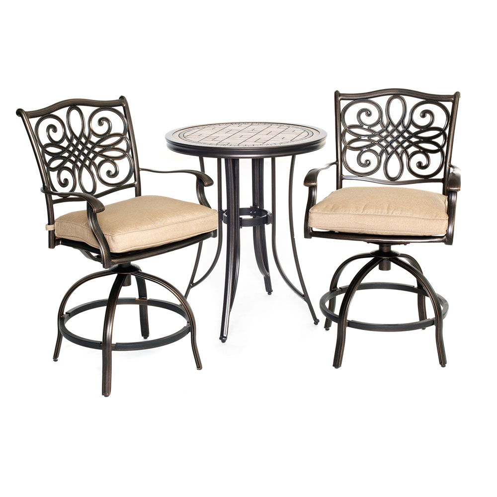 "Monaco3pc: 2 Cush Swivel Counter Height Chairs, 30"" Tile Top Tbl (36""H)"