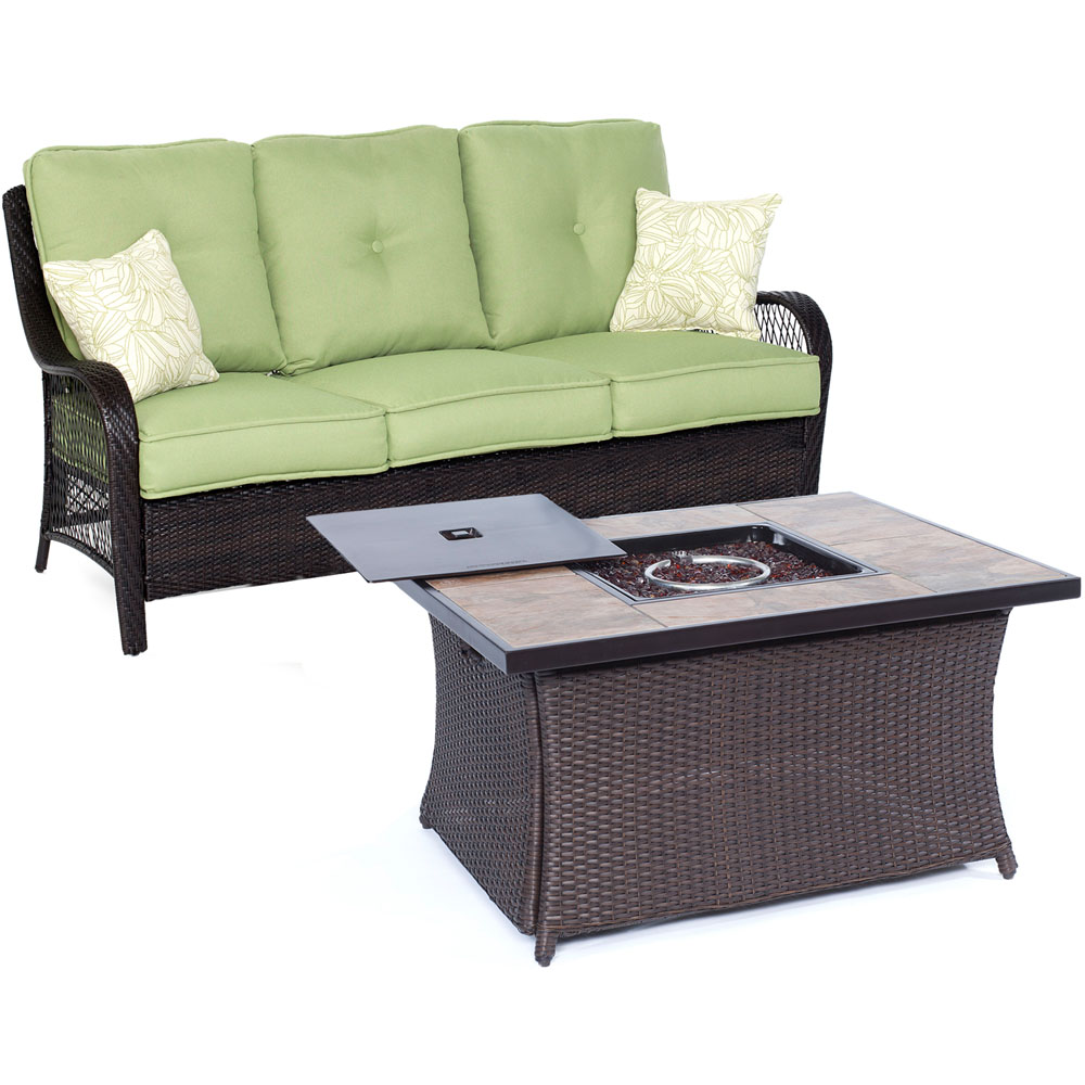 Orleans2pc FP Seating Set: Sofa, Fire Pit Coffee Tbl