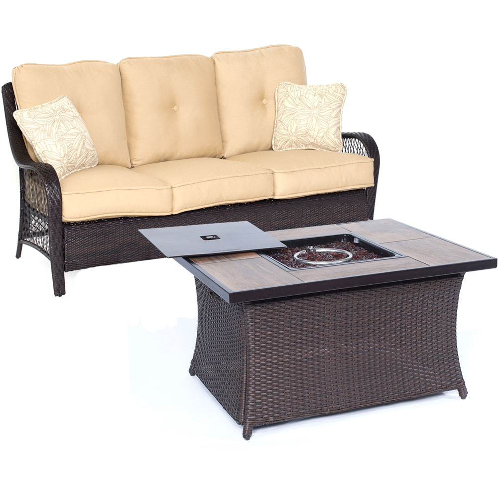 Orleans2pc FP Seating Set: Sofa, Fire Pit Coffee Tbl w/Wood Grain Tile