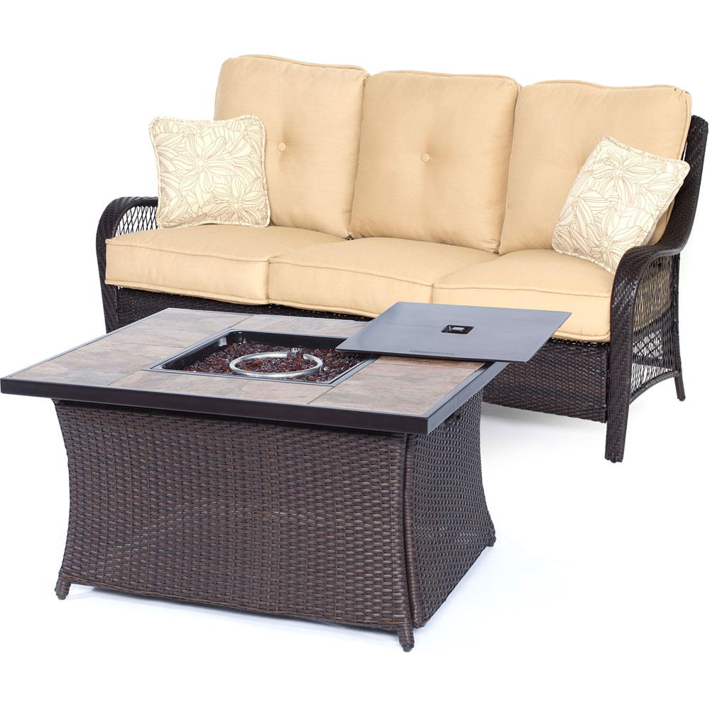 Orleans2pc FP Seating Set: Sofa, Fire Pit Coffee Tbl w/PorcelainTile Top