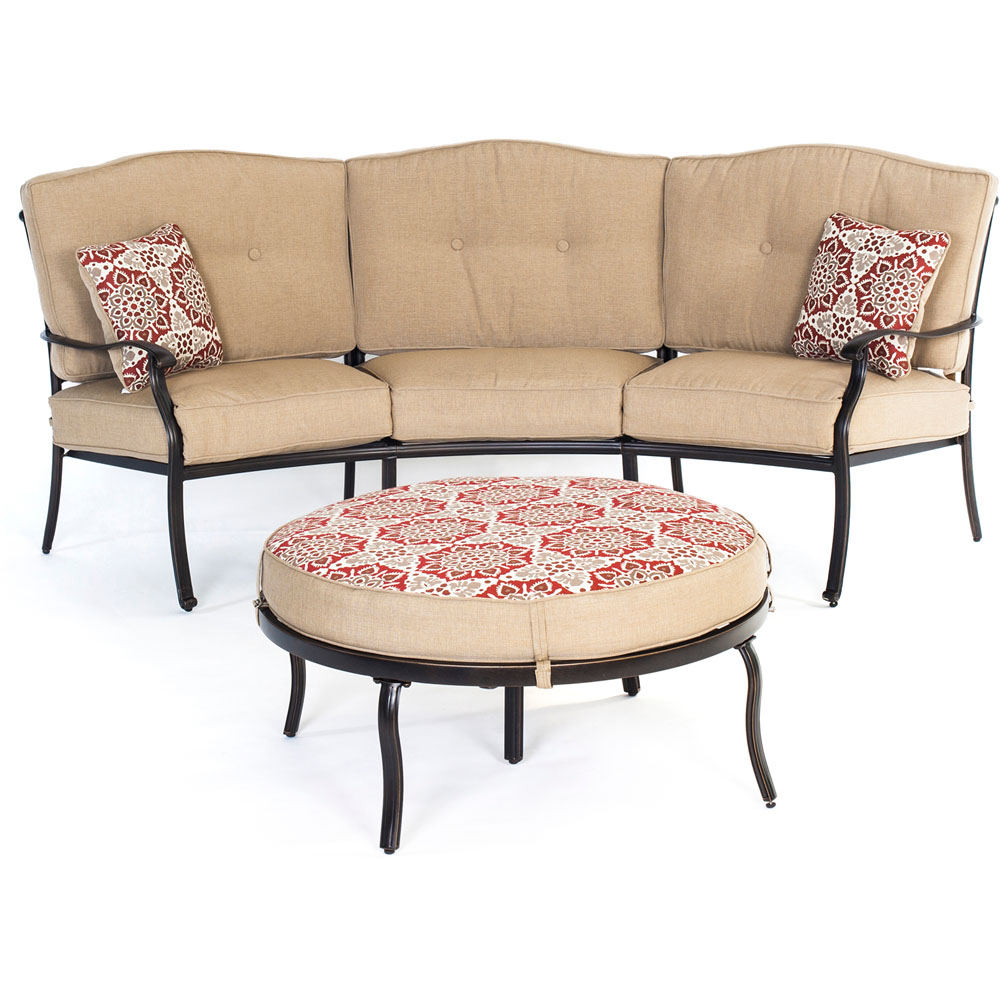 Traditions 2-Piece Patio Set With Reversible Ottoman And Natural Oat Accent Pillows