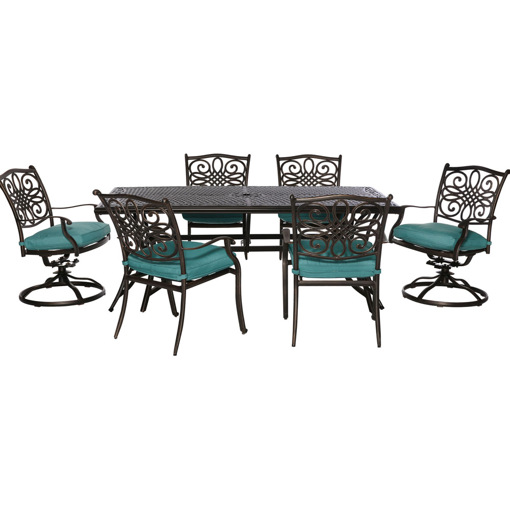 "Traditions7pc: 4 Dining Chairs, 2 Swivel Rockers, 38x72"" Cast Table"