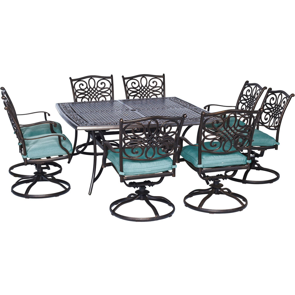 "Traditions9pc: 8 Swivel Rockers, 60"" Square Cast Table"